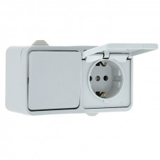 Блок розетка-выключатель 1-кл. 16А с/з с крышкой IP44 белая Прага EKF PROxima EKRV16-050-10-440