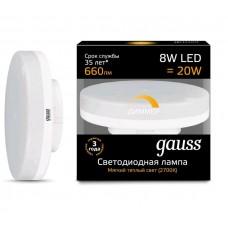 Лампа Gauss LED GX53 8W 2700K диммируемая1/10/100 108408108-D