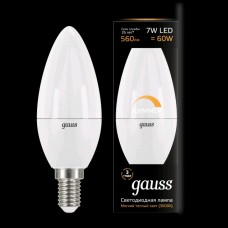 Лампа Gauss LED Candle E14 7W 3000К dimmable 1/10/100 103101107-D