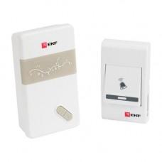 Звонок беспроводной на батарейках (бел.-сер. 36 мелод. с индик. 3х1,5В ААA дист. 80м.) EKF Basic DBB-A-002