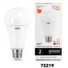 Лампа Gauss LED Elementary A67 30W E27 3000K 1/10/50 73219