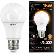 Лампа светодиодная Gauss LED A60 16W E27 3000K 102502116
