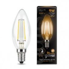 Лампа Gauss LED Filament Свеча E14 9W 680lm 2700К 1/10/50 103801109