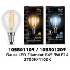 Лампа Gauss LED Filament Шар E14 9W 710lm 4100K 1/10/50 105801209