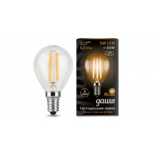 Лампа Gauss LED Filament Шар E27 9W 680lm 2700K 1/10/50 105802109