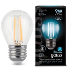 Лампа Gauss LED Filament Шар E27 9W 710lm 4100K 1/10/50 105802209