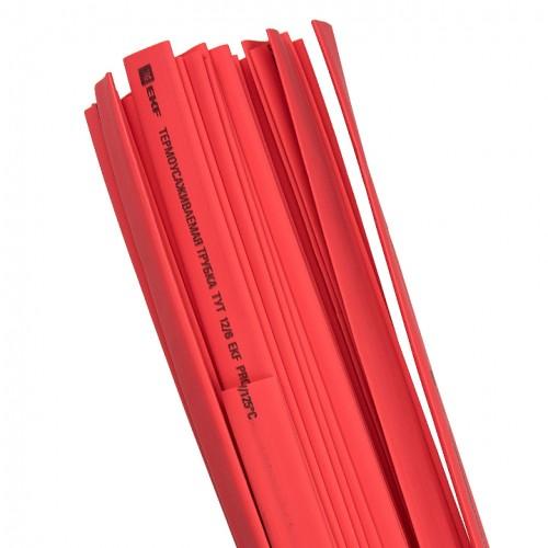 Термоусаживаемая трубка ТУТ 12/6 красная в отрезках по 1м EKF PROxima tut-12-r-1m