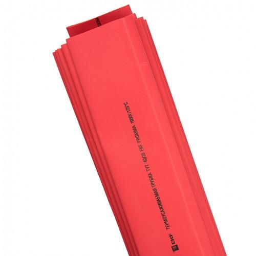 Термоусаживаемая трубка ТУТ 40/20 красная в отрезках по 1м EKF PROxima tut-40-r-1m