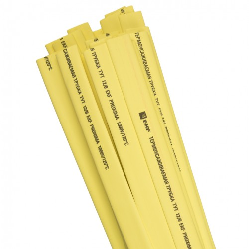 Термоусаживаемая трубка ТУТ 16/8 желтая в отрезках по 1м EKF PROxima tut-16-y-1m