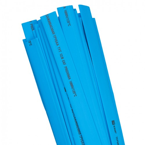 Термоусаживаемая трубка ТУТ 10/5 синяя в отрезках по 1м EKF PROxima tut-10-g-1m