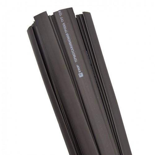 Термоусаживаемая трубка ТУТ  12/6 черная в отрезках по 1м EKF PROxima tut-12-b-1m