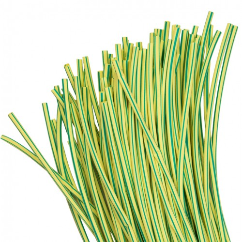 Термоусаживаемая трубка ТУТ  8/4 желто-зеленая в отрезках по 1м EKF PROxima tut-8-yg-1m