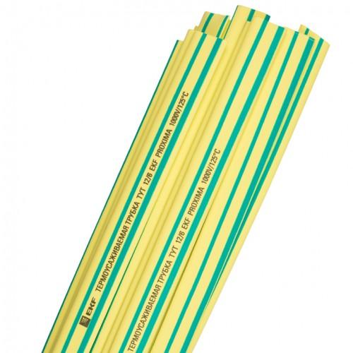 Термоусаживаемая трубка ТУТ 10/5 желто-зеленая в отрезках по 1м EKF PROxima tut-10-yg-1m