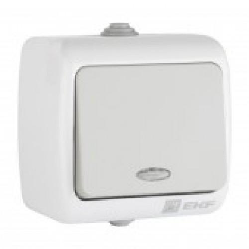 Мурманск Выключатель 1 -клавишный с индикатором 10А IP54 серый EKF EFV10-121-30-54