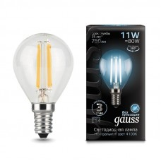 Лампа Gauss LED Filament Шар E14 11W 750lm 4100K 1/10/50 105801211
