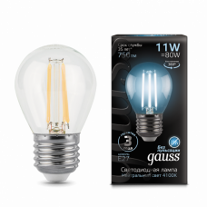Лампа Gauss LED Filament Шар E27 11W 750lm 4100K 1/10/50 105802211