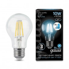 Лампа Gauss LED Filament A60 E27 10W 970lm 4100К step dimmable 1/10/40 102802210-S