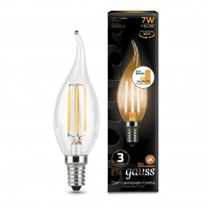 Лампа Gauss LED Filament Свеча на ветру E14 7W 550lm 2700K step dimmable 1/10/50 104801107-S