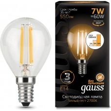 Лампа Gauss LED Filament Шар E14 7W 580lm 4100K step dimmable 1/10/50 105801207-S
