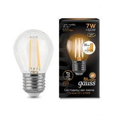 Лампа Gauss LED Filament Шар E27 7W 550lm 2700K step dimmable 1/10/50 105802107-S