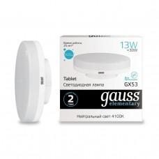 Лампа Gauss LED Elementary GX53 13W 890lm 3000K 1/10/100 83813