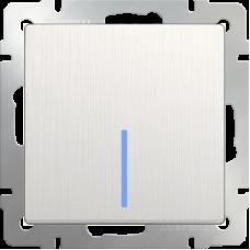 Выключатель одноклавишный проходной с подсветкой (перламутровый рифленый)/WL13-SW-1G-2W-LED a040895