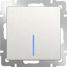 Выключатель одноклавишный с подсветкой(перламутровый рифленый)/WL13-SW-1G-LED a040887