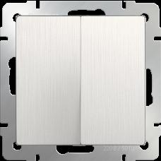 Выключатель  двухклавишный  (перламутровый рифленый)/WL13-SW-2G a040884