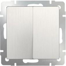 Выключатель двухклавишный проходной (перламутровый рифленый)/WL13-SW-2G-2W a040893