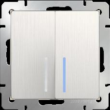 Выключатель  двухклавишный проходной с подсветкой (перламутровый рифленый)/WL13-SW-2G-2W-LED a040898