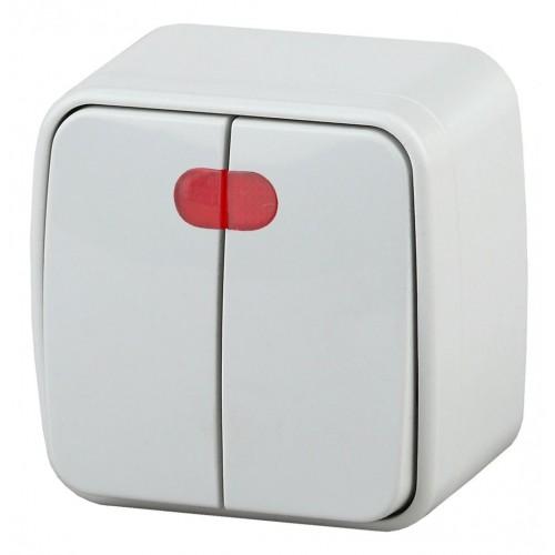 3-105-01 Intro Выключатель двойной с подсветкой, 10А-250В, IP20, ОУ, Polo, белый Б0036096