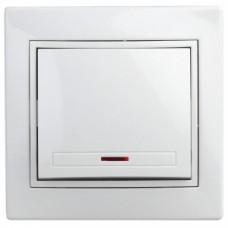 1-102-01 Intro Выключатель с подсветкой, 10А-250В, IP20, СУ, Plano, белый Б0027597