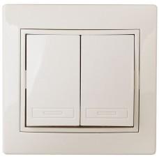 1-104-01 Intro Выключатель двойной, 10А-250В, IP20, СУ, Plano, белый Б0027601