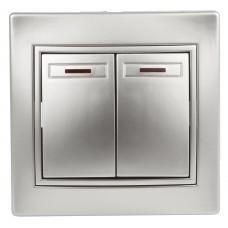1-105-03 Intro Выключатель двойной с подсветкой, 10А-250В, IP20, СУ, Plano, алюминий Б0030046