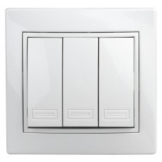 1-106-01 Intro Выключатель тройной, 10А-250В, IP20, СУ, Plano, белый Б0027605