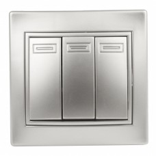 1-106-03 Intro Выключатель тройной, 10А-250В, IP20, СУ, Plano, алюминий Б0030050