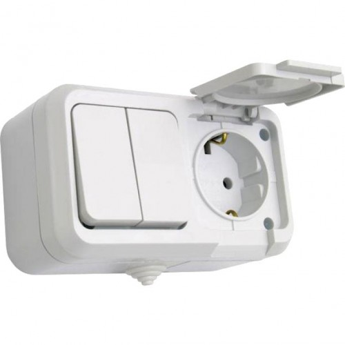 Мурманск Блок розетка 1-м 16А с заземлением с крышкой + 2-кл выключатель IP54 серый EKF EFRV16-052-30-540