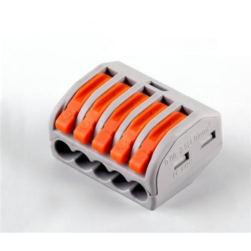 LD222-415 Cтроительно-монтажные клеммы 5-проводные  (DIY упаковка 5 шт) STEKKER 32422