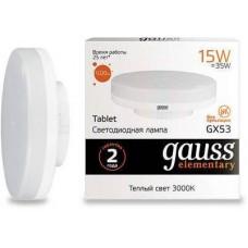 Лампа Gauss LED Elementary GX53 15W 3000K 83815