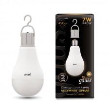 Лампа Gauss LED A60 7W 3000K E27 450lm с Li-Ion аккумулятором 102402107