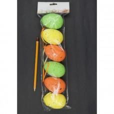 Набор яиц на подвеске (пластик), 6см, 6шт., (Белый, кремовый, натуральный) 1082281