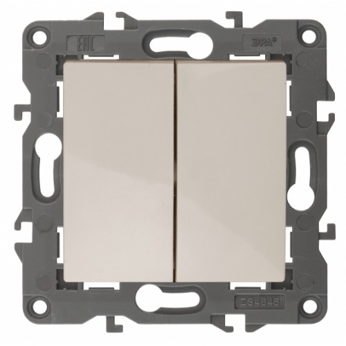 14-1104-02 ЭРА Выключатель двойной, 10АХ-250В, IP20, Эра Elegance, сл.кость Б0034231
