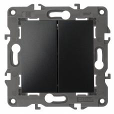 14-1104-05 ЭРА Выключатель двойной, 10АХ-250В, IP20, Эра Elegance, антрацит Б0034234