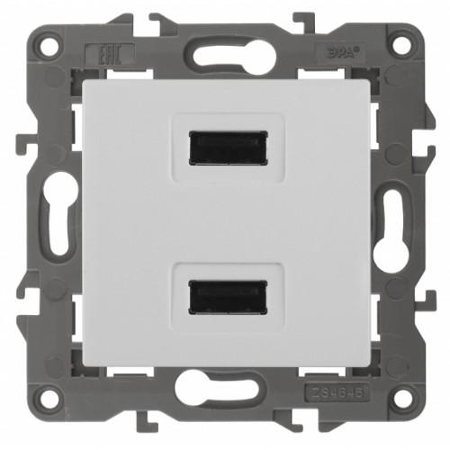 14-4110-01 ЭРА Устройство зарядное USB, 230В/5В-2100мА, IP20, Эра Elegance, белый Б0034358
