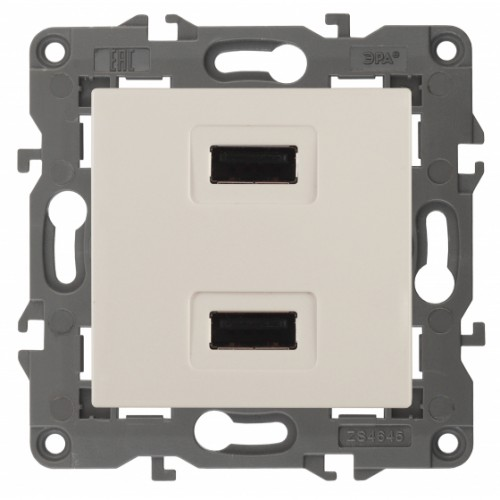 14-4110-02 ЭРА Устройство зарядное USB, 230В/5В-2100мА, IP20, Эра Elegance, сл.кость Б0034359