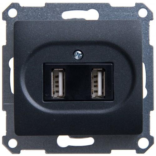 14-4110-05 ЭРА Устройство зарядное USB, 230В/5В-2100мА, IP20, Эра Elegance, антрацит Б0034373