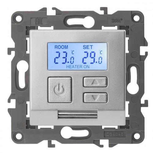 14-4111-03 ЭРА Терморегулятор универс. 230В-Imax16А, IP20, Эра Elegance, алюминий Б0034377