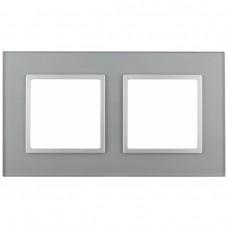 14-5102-03 ЭРА Рамка на 2 поста, стекло, Эра Elegance, алюминий+алюм Б0034490