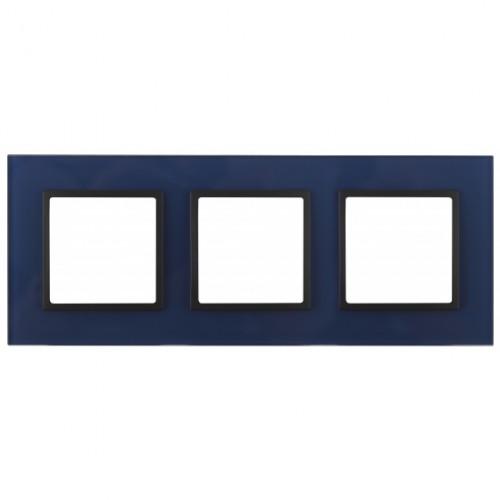 14-5103-29 ЭРА Рамка на 3 поста, стекло, Эра Elegance, синий+антр Б0034519