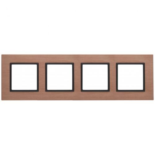 14-5204-14 ЭРА Рамка на 4 поста, металл, Эра Elegance, медь+антр Б0034562